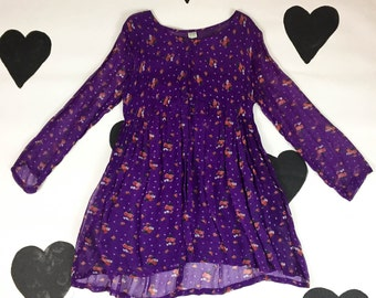 90's babydoll grunge purple hippie mini dress 1990's floral printed rayon boho festival dolly dress / Made in India / gauzy / fairy / XS P