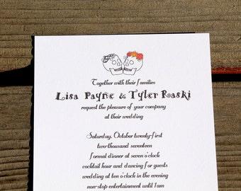 Day of the Dead Wedding Invitation - halloween invitation, halloween printable, skull invite, wedding invitation, fully assembled, invite