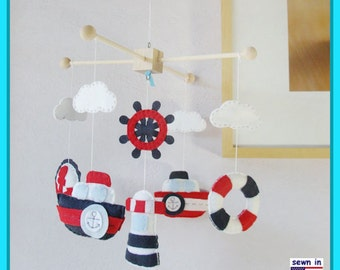 Baby Mobile, Baby Crib Mobile, Nursery Decor, Nautical Mobile, Mariner Mobile, Navy Red White, Match Bedding Mobile