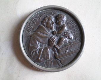 Sanctus Antonius - Vintage Travel Shrine - Framed Table Altar - Round Metal Plaque - Saint Anthony and Child - Catholic - Latin