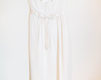 vintage 1950's wedding dress with sweet silk bow - women's size 2