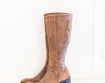 KENNETH COLE brown suede leather chunky knee high boots - women's size 9 M