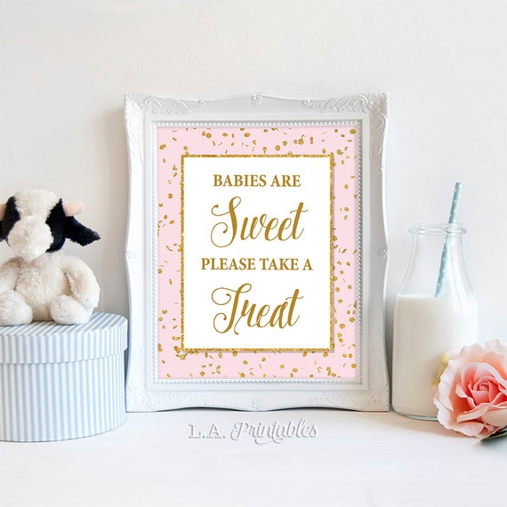 Babies Are Sweet Please Take A Treat Sign Pink Amp Gold Glitter