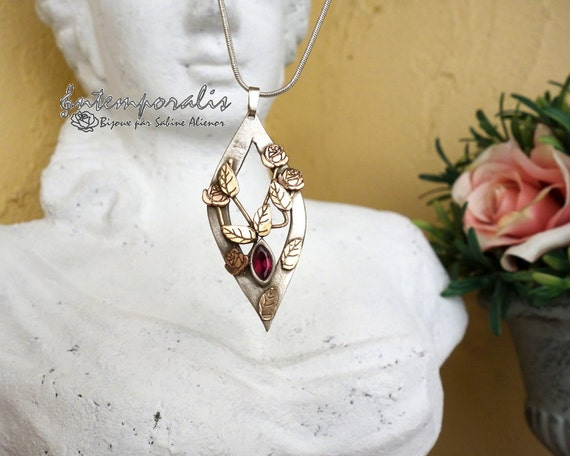 Tricolor flowers and leaves bronze pendant and fushia cubic zirconium, OOAK, SAPE05