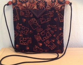 "Black and Terracotta Batik Quilted Fabric Snap Bag Purse Handbag 7-1/2"" X 8"""