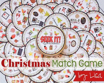 Christmas SEEK IT Match Game, Christmas Printables, Party, Family Game Night, Matching Game ...