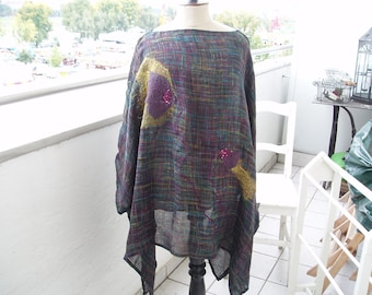 Linen - TUNIC, PONCHO... Poppies, black multicolor