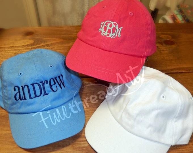 Featured listing image: Infant or Small Toddler Monogram Baseball Cap Hat for Girls Boys Kids Youth Size Name Initials Elastic Baby Hat Pink Blue White Twins