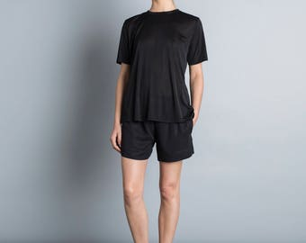 Black t shirt, semi sheer shiny top, summer blouse, short sleeves, black tunic, loose fit t shirt, minimal blouse, scoop neck sport top