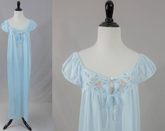 70s Long Nightgown - Light Blue Nylon - Embroidered Flowers Pink Gray - Cutouts - Movie Star - Vintage 1970s - M