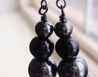 Black and Grey - Gunmetal Black Earrings, Gun Metal Earrings, Black Earrings, Grey Earrings