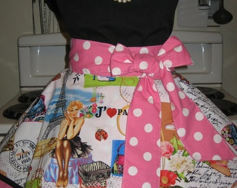 Paris and Pink Polka Dots, Vintage Inspired, Pin Up, Glamour Fancy Hostess Half Apron