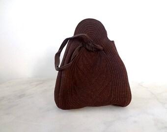 1940s Drawstring Handbag - vintage brown wool wristlet - collapsible box purse with deco stitching