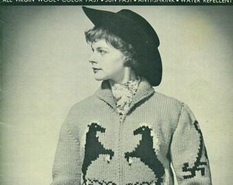 PALOMINO HORSE 1950s Knitting Sweater Pattern No. 20 Women Youth Sizes 30 - 32 - 34 - 36 Woolard Company Ltd.