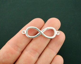 6 Infinity Connector Charms Silver Tone 2 Sided - SC6403