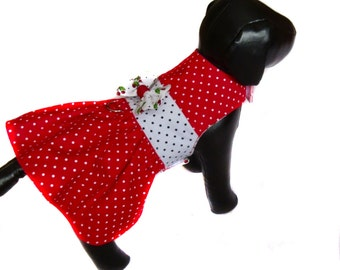 Dog dress, small dog dress, chihuahua clothes, yorkie clothes, pet dress,dots dog dress, back length 9 1/5 inches ( 24 cm )