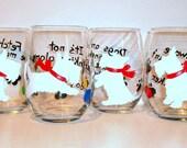 White Scottish Terrier Dog Silhouette Hand Painted Wine Glasses Set of 4 - 21 oz. Stemless Wine Glasses Glassware Scottie, Westie, Scotties