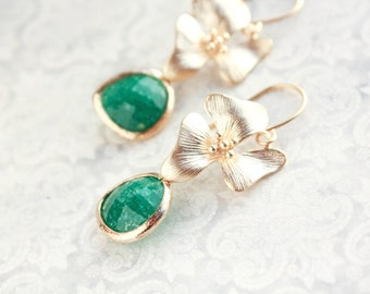 Gold Orchid Flower Earrings Palace Green Jade Green Jewel Floral Dangle Bridemaids Gift For Her Nickel Free Dark Green Spring Wedding Trend