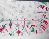 Vintage HUGE Luther Travis CHRISTMAS TABLECLOTH  Mid Century Modern - 62x96 - Pink Blue Silver