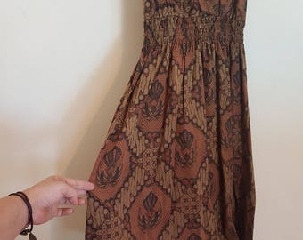 Vintage 1980's brown, black and khaki batik cotton sun dress