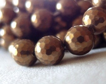 "8mm Antique Golden Bronze Faceted Round South Sea Shell Pearls, full 16"" strand, 50 pearls"