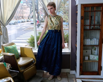 Free Shipping!: Vintage Floor Length Multicolor Gold and Navy Blue Evening Gown Dress