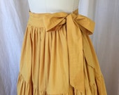 "1950's Tiered Skirt / 27"" Waist/ Goldenrod Yellow Bright Colorful / Full Tiered Gathered Cotton/ Retro Patio Gypsy 50's Long Skirt Side Tie"