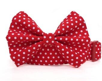 Dog Bow Tie, Red Polka Dot Dog Collar, Dog Bowtie, Boy Dog Collar, Red White Polka Dot Collar, Red Dog Collar, Red Dog Bow