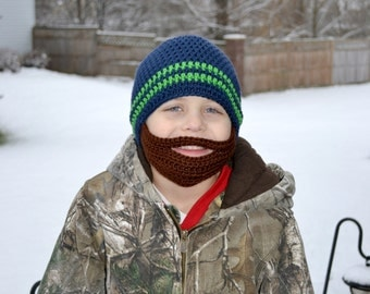 Crochet Baby Boy Beanie with Beard Hat - 3 months to 10 years - Dark Country Blue and Limelight with Chocolate Beard - MADE TO ORDER