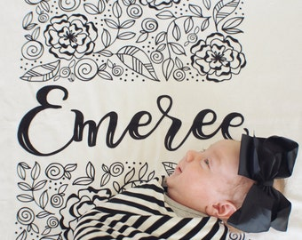 CUSTOM NAME Swaddle -  Rectangle blooms - Birth announcement - personalized swaddle