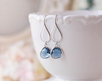 Navy Blue Earrings, Silver Dark Sapphire Dangle Earrings, Navy Blue Wedding Bridal Jewelry, Bridesmaid Earrings, Bridesmaid Gift
