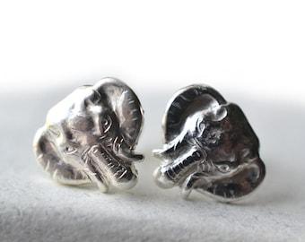 Silver Elephant Studs, Elephant Earrings, Single or Pair, Animal Earrings, Post Earrings, Small .925 Silver Stud, African Elephant Jewelry