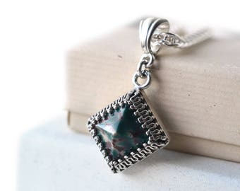Bloodstone Pendant, Pyramid Cut Natural Gemstone Necklace in Silver, Boho Women's Jewelry