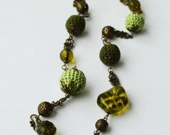 Crocheted Ball Necklace, Antique Bronze Necklace, Green Necklace, Vintage Inspired Necklace