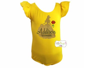 Belle - (Child) Flutter Sleeve- Leotard.. beauty and the beast with (child's-NAME)