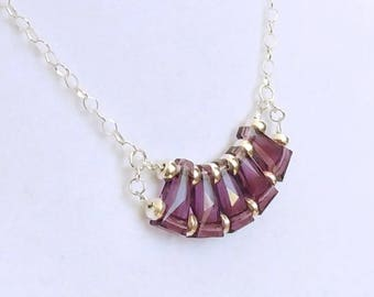 Purple Amethyst Faceted Swarovski Crystals on Sterling Silver Chain