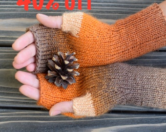 40% OFF Fingerless Gloves (Wrist Warmers, Fingerless Mittens, Fingerless Mitts) - Multicolor With Orange and Brown