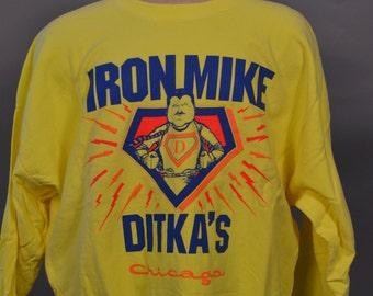 VTG Ditkas Chicago Iron Mike Ditkas Chicago Bears Yellow Crewneck Sweatshirt