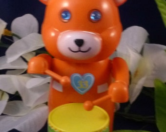 Vintage Wind Up Toy Orange Bear Playing Drum, 1995