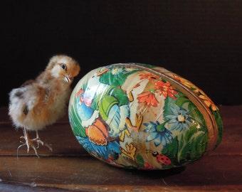 Vintage Papier-Mache German Egg / Paper Mache German Candy Holder / Rooster Rabbit Duck / Large Easter Egg