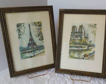 Framed Eiffel Tower and Notre Dame Prints Vintage Set of 2 Paris France