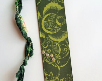 Tasseled Bookimark - Japanese Sea Turtle Bookmark - Green Bookmark - Booklovers Gift - Gift for Her - Gifts Under 15 - Unique Bookmarks