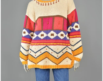 SALE! Vintage Tunic Sweater • Geometric Sweater • Color Block Sweater • Tribal 90s Sweater • Wood Beaded Sweater • Oversize Cotton Sweater