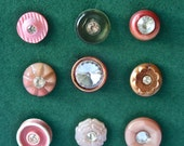 Nine Vintage Pink and Rhinestone Buttons for Sewing and Crafts