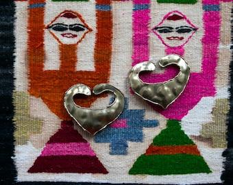 Vintage 80's Handmade Brass Earrings Heart Shaped Women's