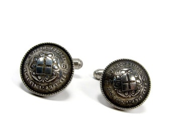 Vintage George VI Silver Three Pence Coin Cufflinks, Dated 1940, Estate Jewelry, Silver Cufflinks, Mens Jewelry, Suit Accessories