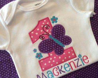 Butterfly First Birthday Shirt or Bodysuit--Butterfly Shirt girls-- pink purple and teal themed butterfly birthday party