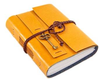 Faux Leather Journal with Blank Paper and Key Charm // Mango // Travel Journal // Vegan Journal // Ready to Ship