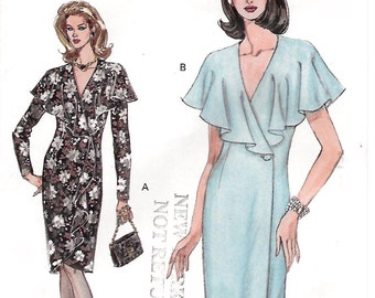 Vogue 8943 Misses 90s Semi Fitted Tapered Wrap Dress Sewing Patten Size 6 8 10 Bust 30 1/2, 31 1/2, 32 1/2