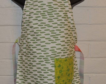REVERSIBLE Peas in a Pod, Sweetpea Child's Cooking Apron / Art Smock fits size 3, 4, 5, 6 and 7 kids kid pocket sweet pea